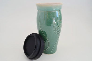 Ceramic Travel Mug with Lid- Green with Spiral Design