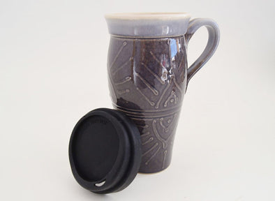 Ceramic Travel Mug with Lid and Handle- Eggplant with Design