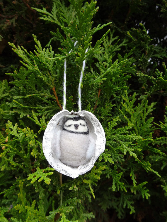 Needle Felted Penguin in Walnut Heirloom Ornament