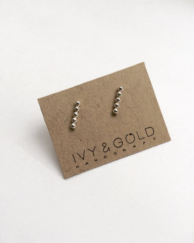 Beaded Bar Earrings - Sterling Silver