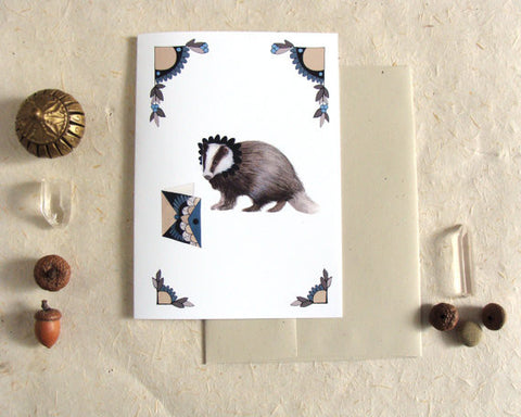 Critters and Cards: Badger // Greeting Card // Polanshek of the Hills