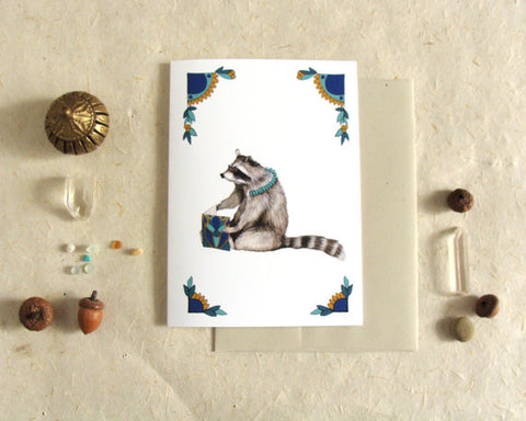 Critters and Cards: Raccoon // Greeting Card // by Polanshek of the Hills