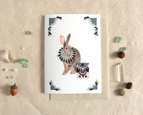 Critters and Cards: Rabbit // Greeting Card // by Polanshek of the Hills