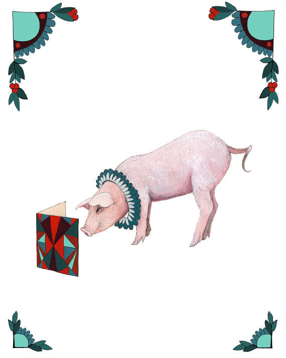 8x10 Art Print: Critters and Cards: Pig