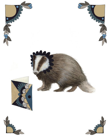 Critters and Cards: Badger // 8x10 Art Print // Polanshek of the Hills