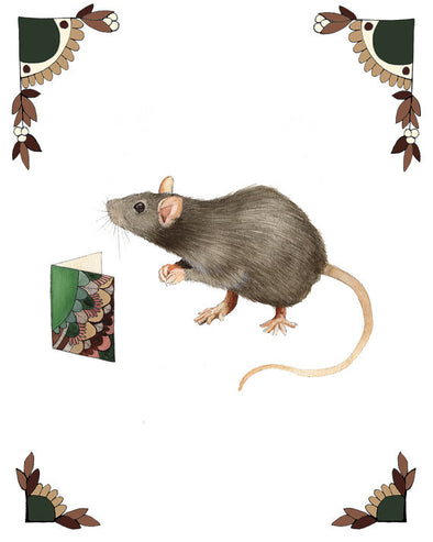 8x10 Art Print: Critters and Cards: Rat