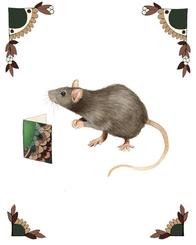 Critters and Cards: Rat // 8x10 Art Print // Woodland Illustration