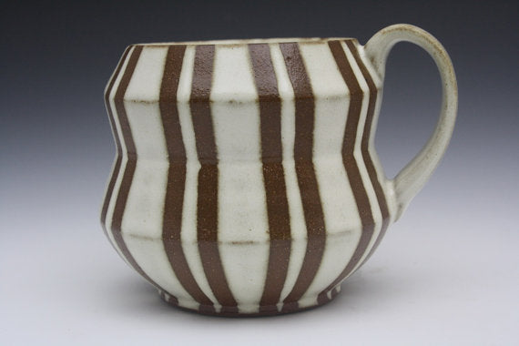 Double Stripe White and Brown Accordion Mug
