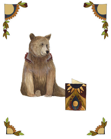 Critters and Cards: Bear // 8x10 Art Print // Polanshek of the Hills