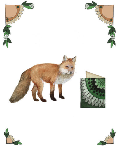8x10 Art Print: Critters and Cards: Fox