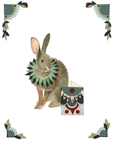 8x10 Art Print: Critters and Cards: Rabbit