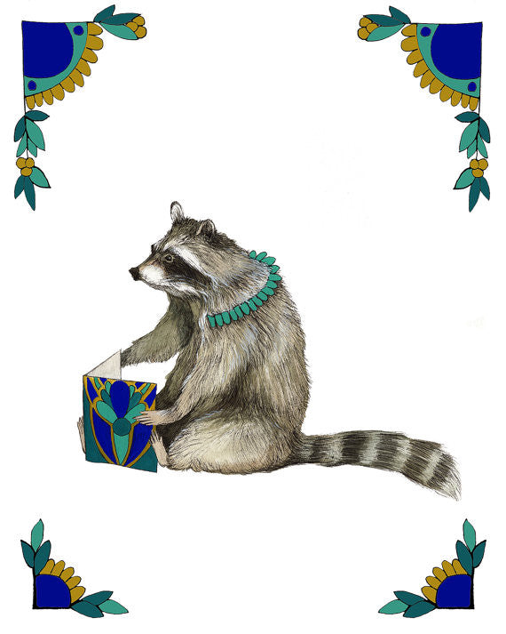 8x10 Art Print: Critters and Cards: Raccoon