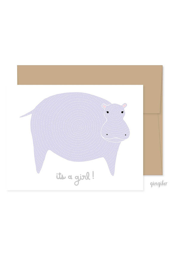 It's a Girl Greeting Card Hippo