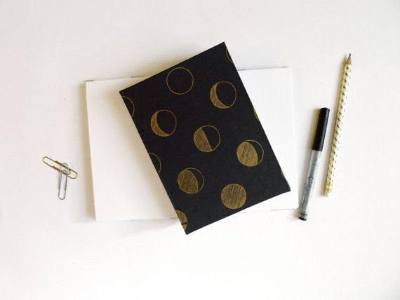 Gold Moon Phase Coptic Notebook