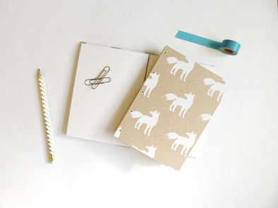 Fox Coptic Notebook White Silhouette // by Middle Dune
