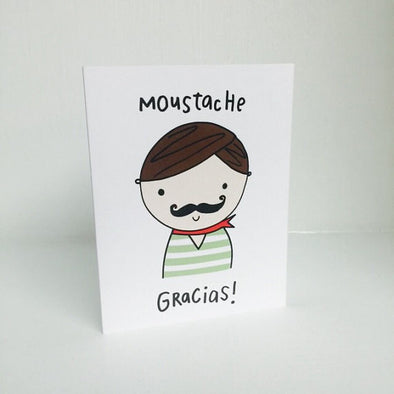 Moustache Gracias Greeting Card