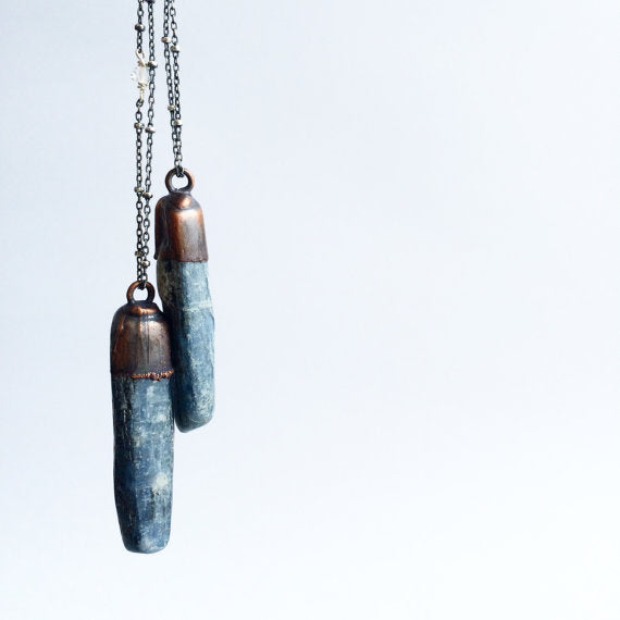 "24"" Tumbled Kyanite Sterling Silver Necklace*"