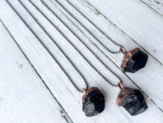 "24"" Black Tourmaline Sterling Silver Necklace*"