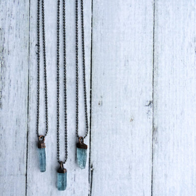Aquamarine Crystal Necklace Long