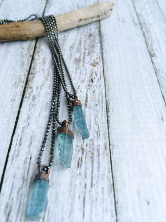 "18"" Aquamarine Sterling Silver Necklace**"
