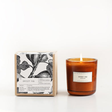 Sweet Fig Amber Glass Soy Candle