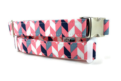 Pink and Gray Geometric Dog Collar with Plastic Buckle (XS)