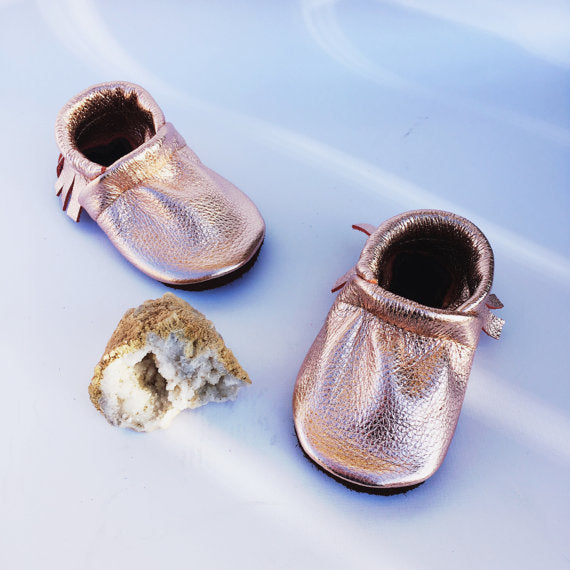 Rose Gold Moccs Fringe Soft Soled Leather Moccasins Shoes Baby and Toddler