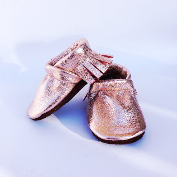 Rose Gold Moccs Fringe Soft Soled Leather Moccasins Shoes Baby and Toddler-WATERBURY