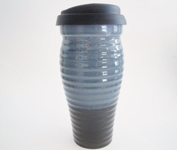 Ceramic Travel Mug with Lid- Ribbed Blue and Dark Blue