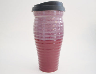Ceramic Travel Mug with Lid - Pink and Mauve Ribbed