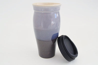 Ceramic Travel Mug with Lid- Purple and Blue