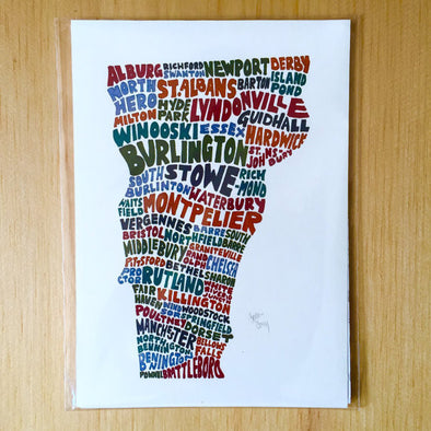 Towns of Vermont 5x7 Art Print - WATERBURY