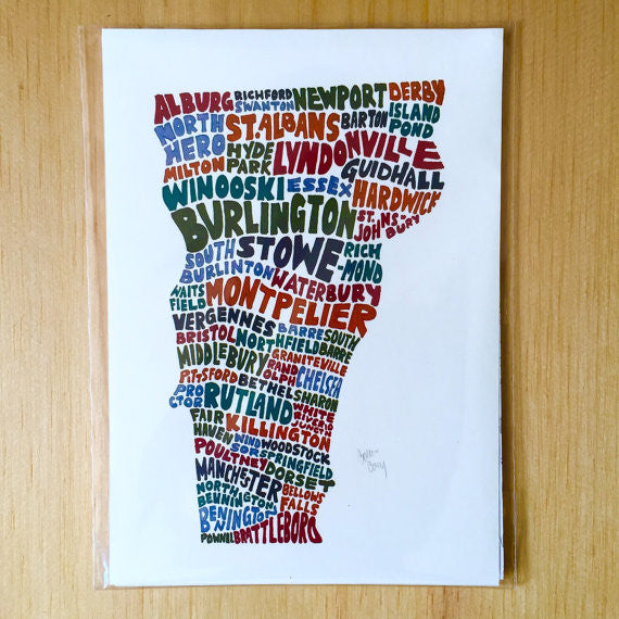 Towns of Vermont 5x7 Art Print
