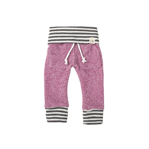 Plum and Grey Stripe Kids / Baby Sweatpants