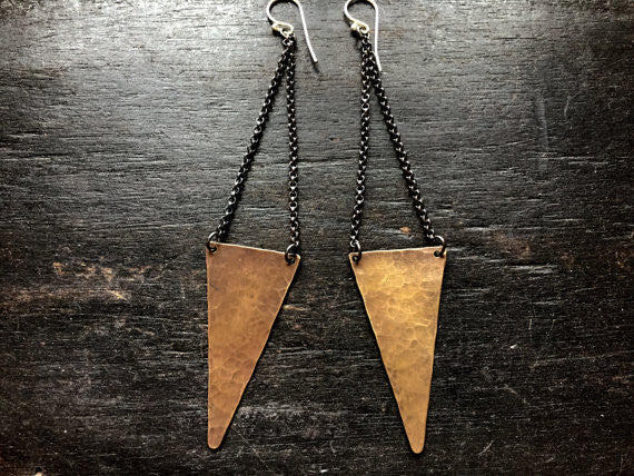 Brass Angular Large Earrings