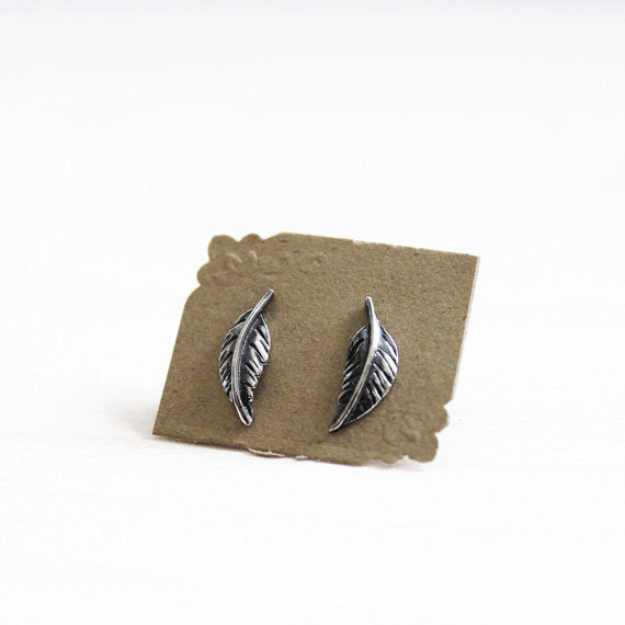 Feather Post Earrings - Sterling Silver