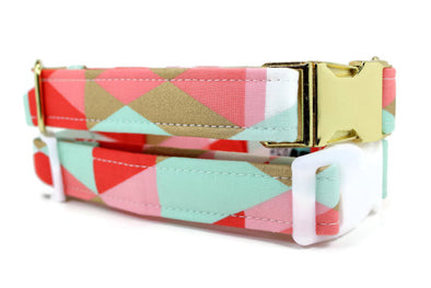 Pink Mint and Gold Dog Collar Metal Buckle (XS)