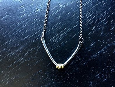 Forged Sterling V Necklace with Brass Heishi
