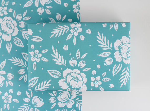 Turquoise Floral Gift Wrap