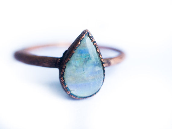 Rainbow Moonstone  Tear Drop Ring