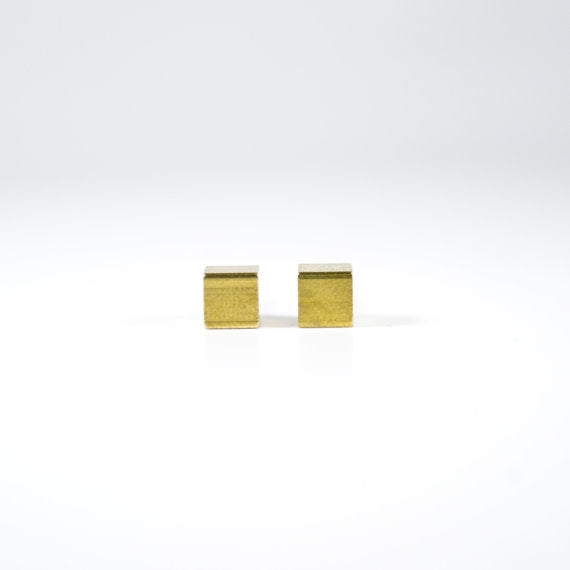 Gold Cube Post Earrings Large