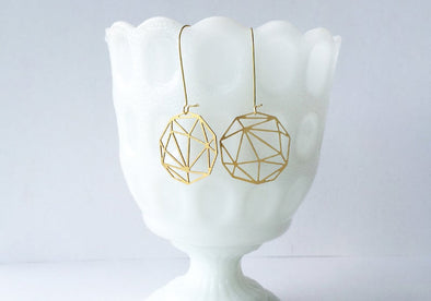 Faceted Geometric Sphere Earrings - Brass