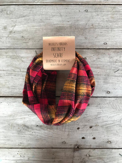 Plaid Flannel Infinity Scarf - Red, Mustard and Black