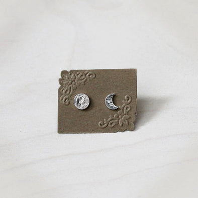 Moon Phase Stud Earrings - Sterling Silver