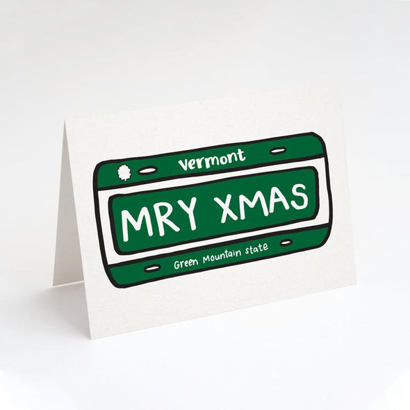 "Merry Christmas Vermont VT License Plate ""MRY XMAS"" Greeting Card"