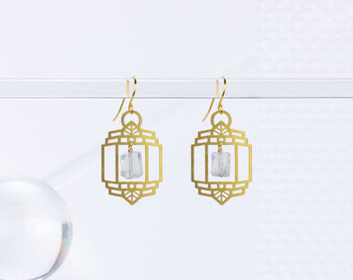 Art Deco Lantern with Quartz Earrings