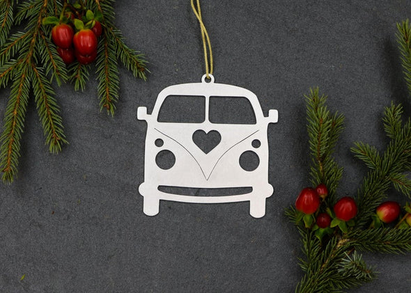 Love Bus Van Metal Ornament