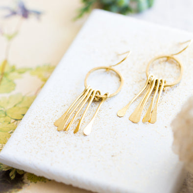 Brass Paddle Chandelier Earrings