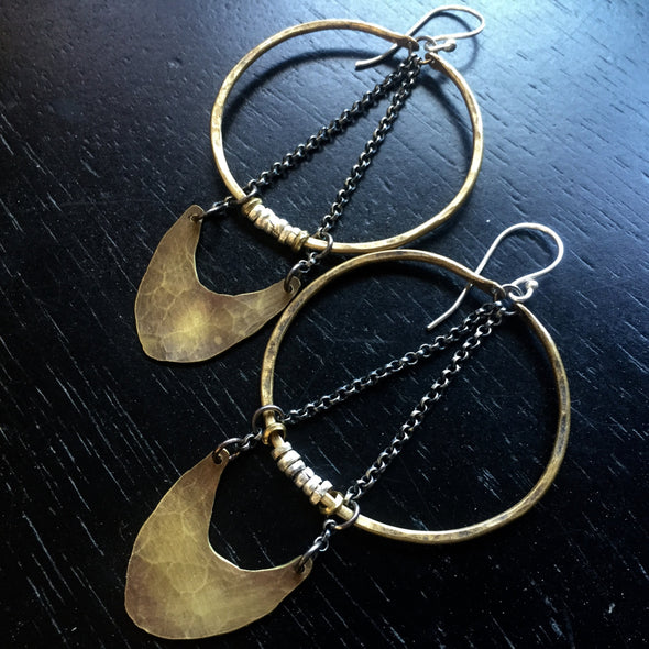 Silver and Brass Warrior Earrings Medium