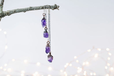 Raw Amethyst Crystal Earrings - WATERBURY